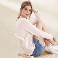 Cotton Button Side T-Shirt, Powder Pink, 4