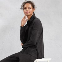 Cotton-Cashmere Funnel-Neck Hoodie, Dark Charcoal Marl, Small