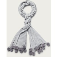 Cotton-Cashmere Pom-Pom Scarf, Pale Grey Marl, One Size