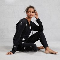 Cotton-Cashmere Star Onesie, Dark Charcoal Marl, Medium