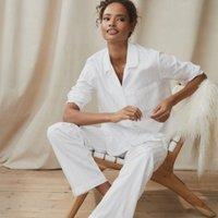 Cotton Classic Pyjama Set, White, Large
