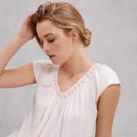 Cotton Crochet Lace Trim Nightie, Pale Pink, Medium