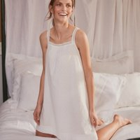 Cotton Dobby Lace-Strap Nightie, White, Extra Large