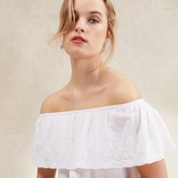 Cotton Embroidered Frill Top, White, 16