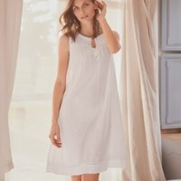 Cotton Embroidered Pintuck Nightie, White, Medium