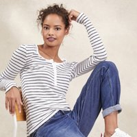 Cotton Fine Stripe Layering T-Shirt, White Navy, 16