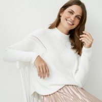 Cotton Funnel-Neck Pointelle Jumper, Porcelain, Large
