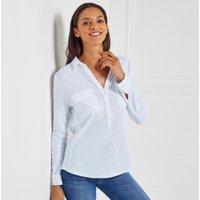 Cotton Half Button Long Sleeve Shirt , Chalk Blue, 18