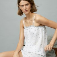Cotton Jacquard Short Pyjama Set, White Blue, Extra Small