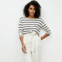 Cotton Jersey Boxy Breton Stripe T-Shirt, Navy & Ecru, 4