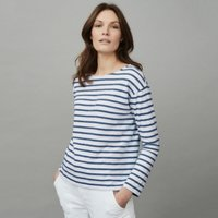 Cotton Jersey Denim Stripe T- Shirt, White Blue, 10