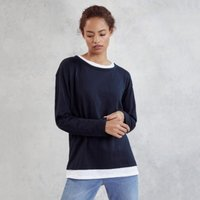Cotton Jersey Double Layer T-Shirt, Navy, 4