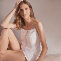 Cotton Jersey Lace-Insert Pyjama Set, White, Extra Large