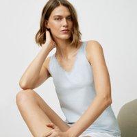 Cotton Jersey Lace-Trim Pyjama Vest, Pale Blue, Medium