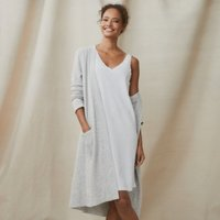 Cotton Jersey Lace-Trim Sleeveless Nightie, Cloud Marl, Large