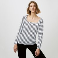 Cotton Jersey Square Neck Stripe Top, White/Black, 10