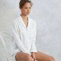Cotton Leaf-Print Pyjama Set, White, Large