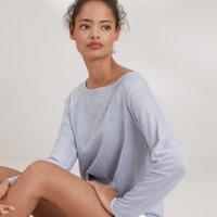 Cotton-Linen Raglan T-Shirt, Heather Blue, 4
