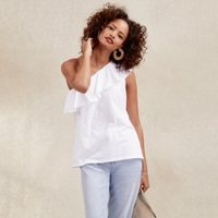 Cotton One Shoulder Frill Neck Top, White, 16