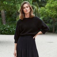 Cotton-Rich Balloon-Sleeve Jumper, Black, Large