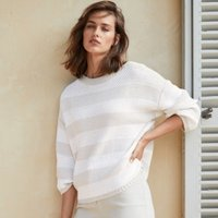 Cotton-Rich Boat-Neck Stripe Jumper, Porcelain, Medium