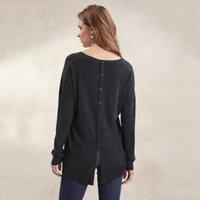 Cotton-Rich Button Back Jumper, Storm Grey, 12