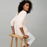 Cotton-Rich Button-Back Jumper, Petal Pink, 4
