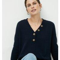 Cotton-Rich Button-Placket Jumper, Navy, 10