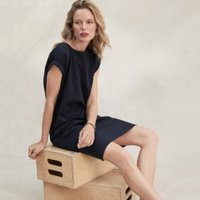 Cotton-Rich Pocket Cocoon Dress, Navy, 10