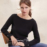 Cotton-Rich Stripe Button Cuff Jumper , Black, 16