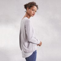 Cotton-Rich Woven Layer Jumper , Pale Grey Marl, 10