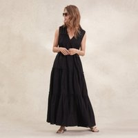 Cotton Tiered Maxi Dress, Black, 10