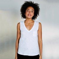 Cotton V-Neck Pocket Vest, White, 4