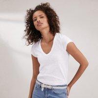 Cotton V-Neck T-Shirt, White, 18