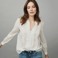 Cotton Voile Pintuck Blouse, White, 16