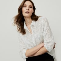 Cotton Voile Spot-Print Shirt, White, 4