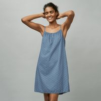 Cotton Woodblock Print Nightie, Blue, Extra Small