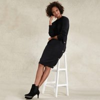 Cotton-Wool Button Side Dress , Charcoal Marl, 16