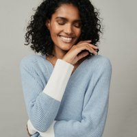 Cotton-Wool Colourblock V-Neck Jumper, Denim Blue Marl, 6