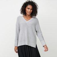 Cotton-Wool V-Neck Longline Jumper, Pale Grey Marl, 6
