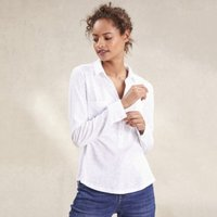 Cotton Woven Pocket Long Sleeve Jersey Shirt, White, 14