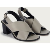 Crossover Strap Heel Sandals, Grey, 36