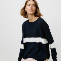 Curved Hem Colourblock Jumper with Cotton , Navy, Large