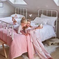 Housewife Pillowcase & Duvet Cover Set, White/Pink, Cot Bed