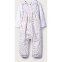 Delphine Floral Dungaree Set, White, 3-6mths