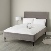 Dulwich Velvet Bed - Dark Stained Beech Leg, Silver Grey Velvet, Super King