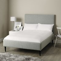 Dulwich Wool Bed - Dark Stained Beech Leg, Light Grey Wool, Super King