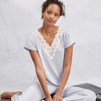 Deep V Lace Pyjama Set, Pale Blue Marl, Extra Large