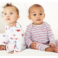 Dino & Stripe Sleepsuit - Set of 2, White, 3-6mths
