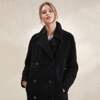 Double-Breasted Curly Sheepskin Coat , Black, Small